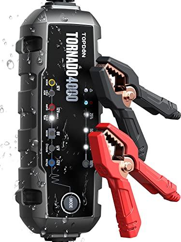 TOPDON TORNADO4000 Chargeur de batterie 6V 12V plomb-acide et 12V lithium-ion, chargeur intelligent, mainteneur, désulfateur de batterie pour voiture, camion, moto, ATV, SUV, marine, bateau.