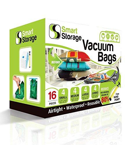 Vakuum-Aufbewahrungsbeutel, 16er-Packung von Smart Storage | Platzsparende Beutel für Kleidung, Kissen & Bettwäsche, Reisegepäck | Vakuum-Aufbewahrungsbeutel