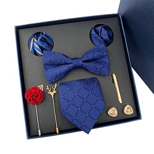 XZzry Lazo Azul Formal de la Tela Escocesa de Moda Lazo Poliéster Cuadrado de Tela de la Bufanda del Juego de los Hombres