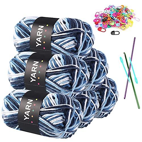 Hilo de ganchillo, 6 x 50 g de lana para tejer, hilo de algodón para manualidades, lana para...