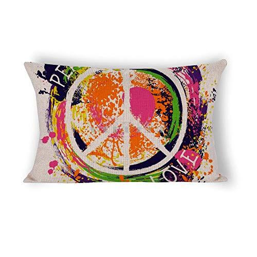 happygoluck1y Hippie Símbolo de la Paz, fundas de cojín rectangulares, 30 x 50 cm, de algodón y lino, fundas de almohada para sofá, decoración del coche