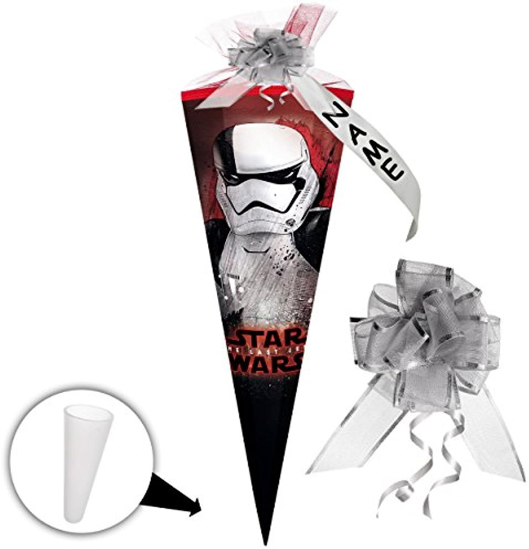 Alles-meine  GmbH 10 Stück _ Schultüten -  Star Wars - Episode 8   die letzten Jedi  - 50 cm - rund - incl. individueller Schleife - mit Namen - mit Tüllabschlu - Zuckertüte..