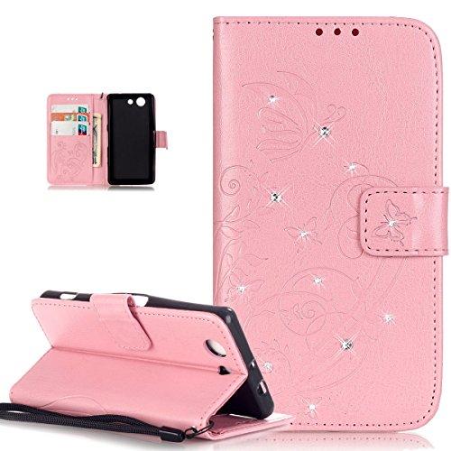 Compatible avec Coque Sony Xperia Z3 Compact Etui Bling Sparkle Diamant Motif Embosser Fleur Vines Papillons Cuir PU Housse Portefeuille Flip Case Etui Housse Coque pour Sony Xperia Z3 Compact,Rose