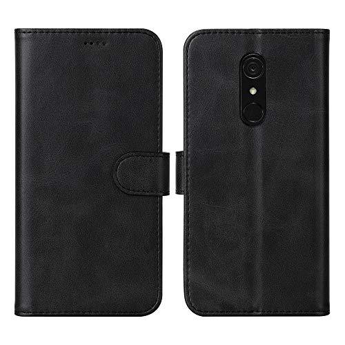 DDJ LG G7 Fit Hülle, Premium PU Leder Flip Hülle Schutzhülle mit Kartensteckplätzen für LG G7 Fit (schwarz)