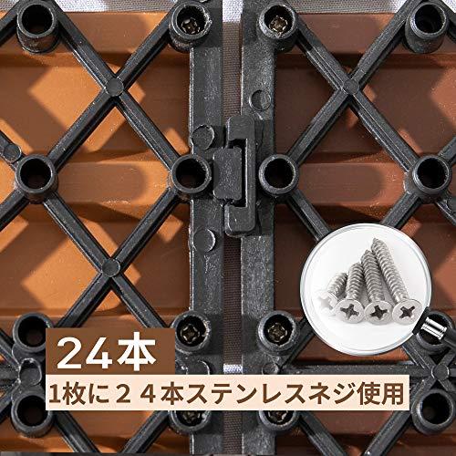 PANDAHOMEウッドパネルウッドデッキウッドタイルデッキタイル6枚入(約0.54m²)のジョイントパネルベランダタイル屋内・屋外用の防水人工木樹脂庭・バルコニーDIY用品-カーキ3D立体木目調タイプ