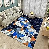 AU-SHTANG alfombras de Salon Modernas Alfombra Azul, patrón de triángulo bebé antiestático arrastrándose la Alfombra de Moda Resistente al Desgaste Alfombra Antideslizante ba?era -Azul_80x160cm