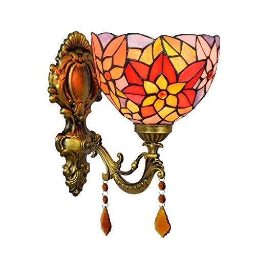 LHQ-HQ De vidriera Espejo de baño Faros británica Classic Jardín de Cristal de Noche lámpara de Pared Decorativo Corredor Crisantemo lámpara de Pared de la decoración de la Pared de luz de la lámpara