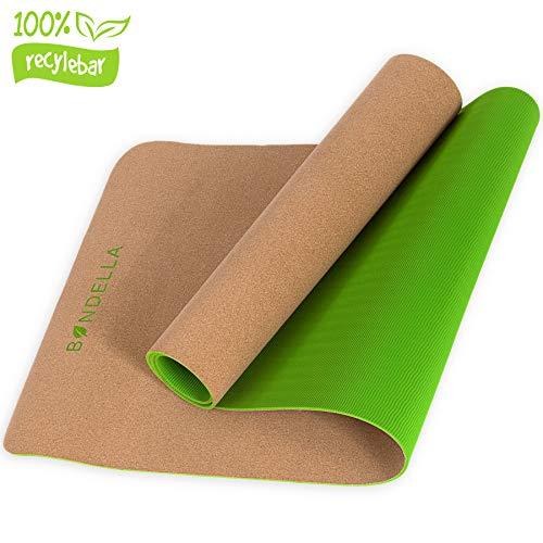 Bondella Ahimsa Premium Kork Yogamatte + Yoga Mat Strap - Yogamatte aus Kork (183x61x0,5) - Yogamatte rutschfest Kork - Ideal als rutschfeste Yogamatte, Jogamatte rutschfest, Yogamatte Dünn