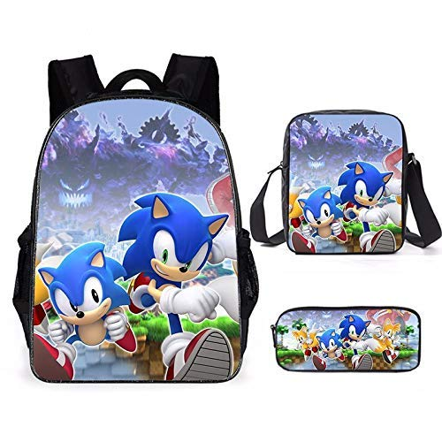 Sonic School Bag 16 inch cartoon sonic school bag first grade elementary and middle school students backpack backpack 3 pieces/set
