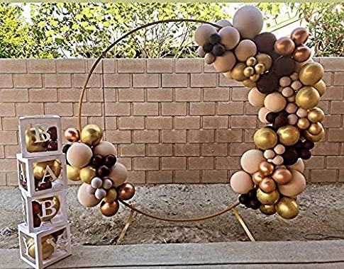 7FT Gold Metal Arch Round Arch Ceremony Backdrop