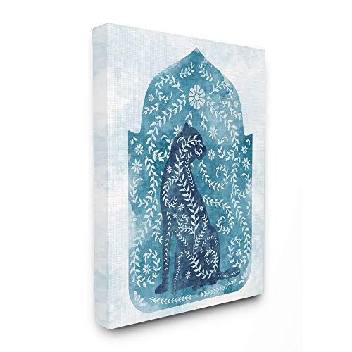 Stupell Industries Regal Cheetah Dschungel Animal Reben Blue Arabesque Aquarell, entworfen von Ziwei Li Wall Art, 16 x 20 cm