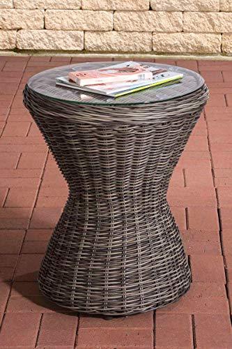 CLP Polyrattan Beistell-Tisch Sandino I Runder Balkontisch Mit Glasplatte Aus Sicherheitsglas I Sonnenliegen-Beistelltisch I Balkontisch, Farbe:grau-meliert
