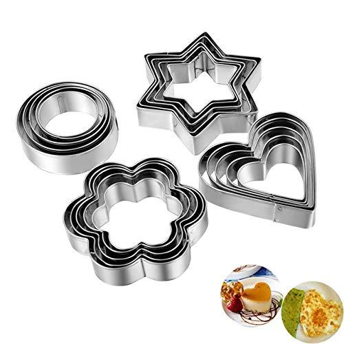 DekoShop Boutique de décoration étoile, Coeur, Cercle, Fleurs métal à Biscuits Formes, 3–7,5cm