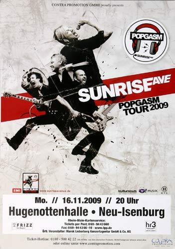 Sunrise Avenue - Popgasm, Neu-Isenburg 2009 » Konzertplakat/Premium Poster | Live Konzert Veranstaltung | DIN A1 «
