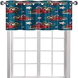 YUAZHOQI cortinas de cocina cenefas acuarela modelo de juguete de Navidad cargado con dulces abeto, ramitas de acebo hojas de bayas sin costuras p 54 'x 45 cm Valence Cortinas para ventanas