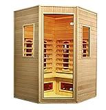 Cabina a infrarossi Vitalhome Sunrise 135 angolare con faretti in ceramica e legno Hemlock