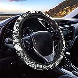 HUGS IDEA Halloween Universal Size Car Steering Wheel Cover Punk Skull Design Stretch-on Car Accessories for Women Girl Suitable for SUV Sedan Vans Trucks