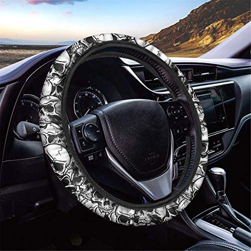 HUGS IDEA Universal Size Car Steering Wheel Cover Punk Skull Design Stretch-on Car Accessories for Women Girl Suitable for SUV Sedan Vans Trucks