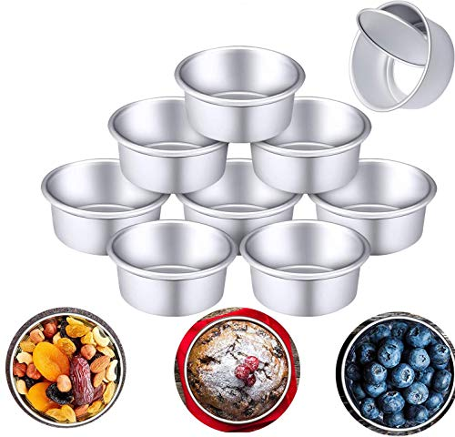 4 Inch Mini Cake Pan Set, 8 PCS Non-stick Stainless Steel Round Baking, Healthy & Sturdy, Easy Clean & Dishwasher Safe for Home Party Baking Supplies