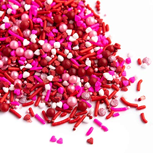 Valentines Sprinkles, XOXO Sprinklefetti 8oz, Red Pink White Mini Hearts, Sprinkles for Baking, Gluten Free