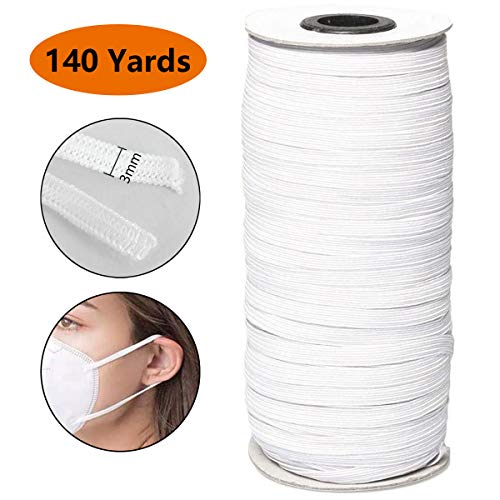 Elastic for Sewing 1/8 inch Elastic Cord Wide Braided Stretch Strap for DIY Sewing Crafting 140 Yards Flat White 3mm