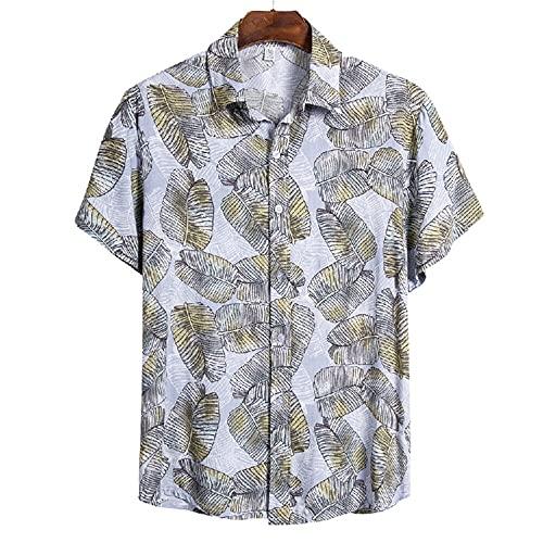 Shirt Ocio Hombre Regular Estampado Moda Vintage Hombre T-Shirt Transpirable con Cuello Kent Tapeta con Botones Shirt Manga Corta Viaje De Vacaciones Hawaii Hombre Shirt Playa CS114 3XL