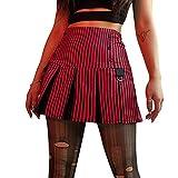 ANGLE Mini falda de mujer Y2k rayas de talle alto patinador falda corta verano casual uniforme escolar tenis mini falda
