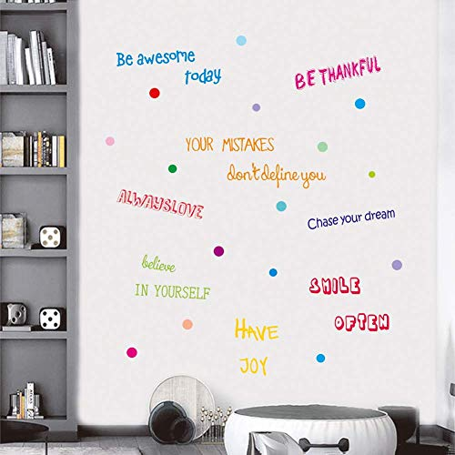 IARTTOP Inspirational Quotes Wall Decal, Motivational Phrases Sticker Classroom Decoration, Positive Attitude Sayings for Window Cling Bedroom Decor (3 Sheet Multicolor Decals)