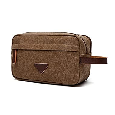 Mens Travel Toiletry Bag Canvas Leather Cosmetic Makeup Organizer Shaving Dopp Kits with Double Compartments (Coffee)