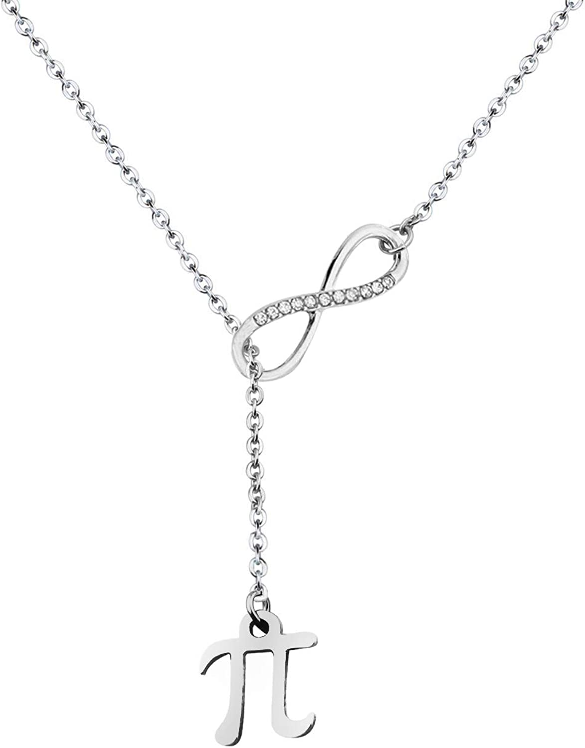 Unisex Pi Sign Infinity Lariat Necklace Bracelet Back to School Gift Science Jewelry