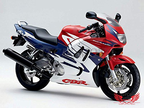 VITCIK (Fairing Kits Fit for Honda CBR600F3 CBR600F 1997 1998 CBR 600 F3 97 98) Plastic ABS Injection Mold Complete Motorcycle Body Aftermarket Bodywork Frame (Red & Blue) A003