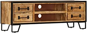 vidaXL Solid Mango Wood TV Cabinet with Drawers Home Living Room Lowboard HiFi Stand Entertainment Center Unit 47.2