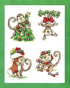 14ct Blank Fabric Joyautum Christmas Monkey Animal Cartoon Counted Cross Stitch kit 14ct 11ct Printed Fabric Embroidery DIY Needlework FishXX