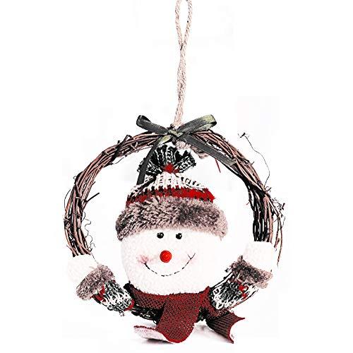 lujiaoshout Couronne de Noël en rotin Anneau d'arbre de Noël Hanging Pendentif Décoration -Snowman