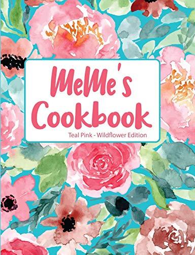 MeMe's Cookbook Teal Pink Wildflower Edition