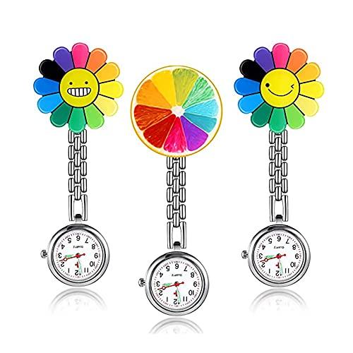 Rückblickend ist das Ufer 3 Stück Sonnenblumenschwester-Uhr, Hängende Doktor-taschenuhr Mit Fester Clip-pin-brosche, Geeignet Für ärzte, Krankenschwestern Und Pflegepersonal(Color:Farbe)