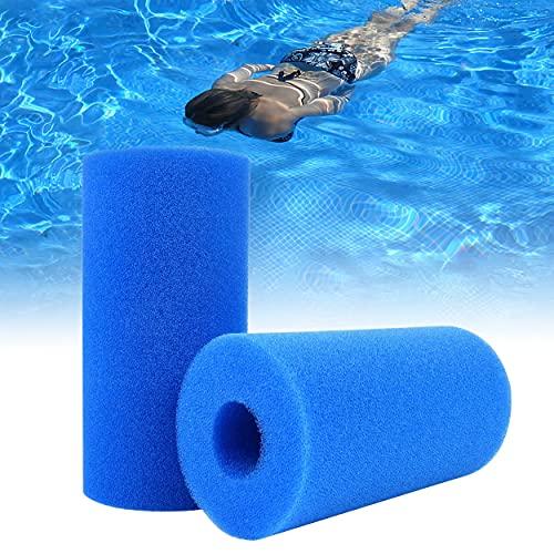 LRIO Pool Filter Schaumschwamm Pool Pumpe Filter 2 Stücke,Wiederverwendbare Waschbare Blauer Whirlpool Ersatz Filter Filterkartusche für Aufblasbare Pools Filter,Pool Filterkartuschen Schaumstoff