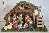 Weihnachtskrippe Tischkrippe Krippe Set Holz inkl. 9 Krippenfiguren aus Keramik Weihnachten Advent Krippenszene
