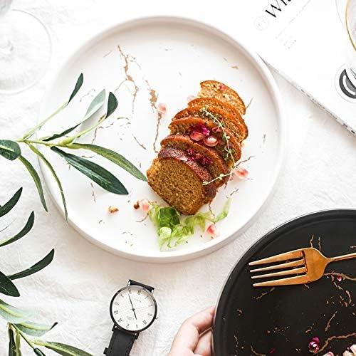 Faïence, plats ménagers plateau plateau plateau pizza plat de pâtes en céramique Ustensiles nordique Ouest ménagers (Color : Black) Black