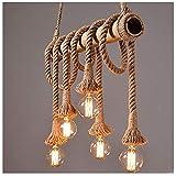Lampadario retro canapa corda ciondolo apparecchio industriale Ciondolo lampada vintage ciondolo apparecchi da cucina lampada da pranzo tavolo da soggiorno sala da pranzo
