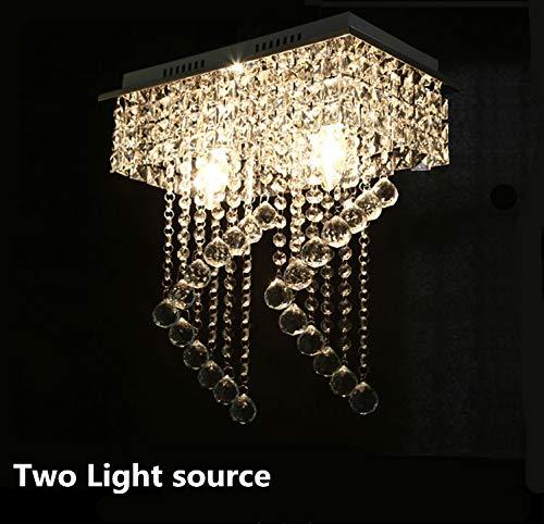 Moderne K9 kristallen plafondverlichting roestvrij staal LED-lampen aan/twee LED plafondlamp E14 LED live verlichting plafond lampen 20 (Two light sources)