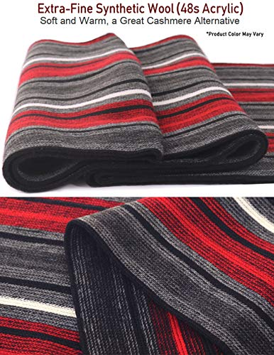 Dahlia Mens Winter Scarf – Synthetic Wool, Extra Long & Warm, Striped Knit
