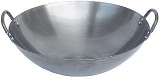 Olla de Hierro Fundido de Doble Oreja, Calibre 40/60 cm, Wok Tradicional de Hierro con Revestimiento Antiadherente Hecho a Mano, Horno de Gas Universal, 40 cm, 50 cm