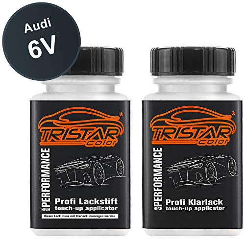 TRISTARcolor Autolack Lackstift Set für Audi 6V Dark Elegance Grün Metallic Basislack Klarlack je 50ml