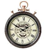XAJGW Reloj de Pared de la estación de Kensington del Reloj Romano de Bolsillo Grande y Redondo de Plata de 45 cm, Antiguo Reloj de Pared de Cuarzo, Sala de Estar, Cocina, Dormitorio