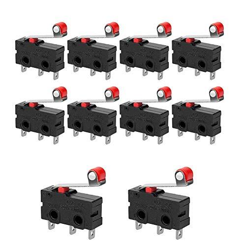 Rodillo de bisagra momentáneo Palanca Micro Interruptores 3 Pines AC 250V 5A SPDT 1NO 1NC NEGRO 10 PCS