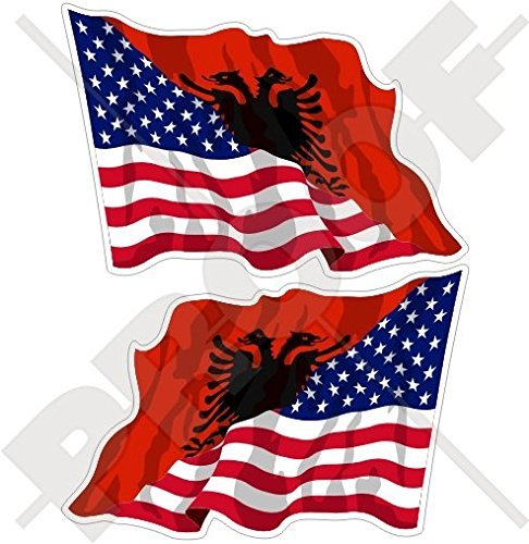 USA United States of America & ALBANIA, American-Albanian Flying Flag 3' (75mm) Vinyl Bumper Stickers, Decals x2 (Left-Right)