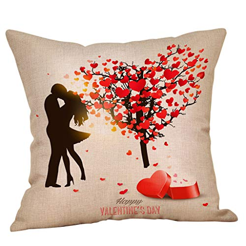 Mamum - Coton Lin Housse De Coussin Geometrique Canapé Taies d'oreiller Home DéCor 45X45 Cm - Saint Valentin Taie d'oreiller Amoureux (I)