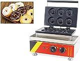 Intbuying Commercial Donut Waffle Maker Electric Donut Baking Iron Waffle Machine 110V (6Pcs)