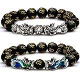 2 Pièces 12 mm Bracelet de Perles Feng Shui Bracelet Chinois avec Main Sculpté Bracelet de Perle Amulette Noire pour Richesse et Bonne Chance (Deux Thermochromisme Deux Argenté)